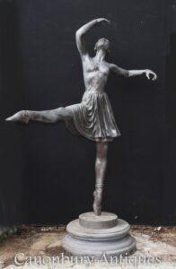 Große Bronze Balletttänzer Statue - Ballerina Casting Skulptur Milo