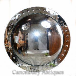 Großer Regency Convex Mirror - Glasrundes Interieur
