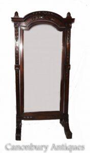 Großer französischer Cheval-Spiegel - Antike Mahagoni-Glasspiegel