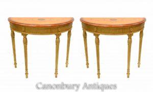 Paar Adams Konsolentische - Regency Gilt Demi Lune Hall Tisch