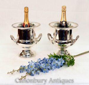 Paar Art Deco Silberplatte Wein Champagner Urnen Kühler