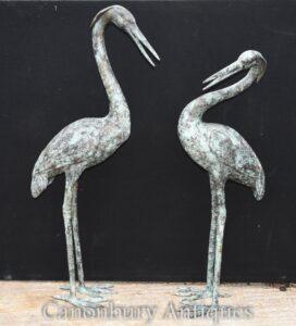 Paar Bronze Japanische Kraniche - Garden Bird Sculpture Stork