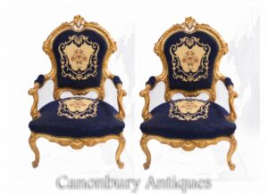 Paar Empire Arm Chairs - Französische Textil-Fauteuils