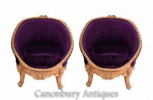 Paar French Empire Wannenstühle - vergoldete Armstühle