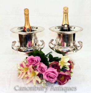 Paar Jugendstil-Silberplatten-Weinkühler - Champagner-Eiskübel