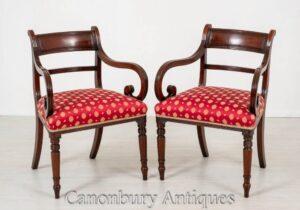 Paar Regency Arm Chairs - Antiker offener Stuhl aus Mahagoni