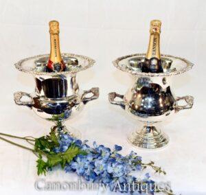 Paar Silberplatten Urnen - Edwardian Champagner Weinkühler