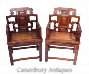 Paar antike chinesische Sessel - Hartholz Sitze Innenräume