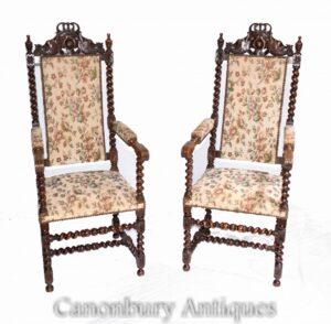 Paar antike italienische Sessel - Oak Farmhouse Barley Twist
