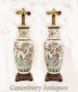 Paar chinesische Porzellantischlampen - gemaltes Vasenurnenlicht