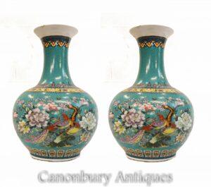 Paar chinesische Porzellanvasen - Qianlong Shangping Form