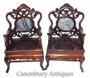 Paar geschnitzte chinesische Sessel - Antikes Hartholz