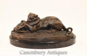 Panther Alligator Battle Bronze nach Moigniez - Französische klassische Statue