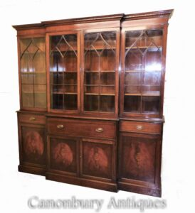 Regency Breakfront Bücherregal Secretaire Desk Antique Library