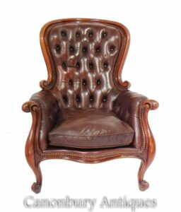 Victorian Balloon Back Arm Chair - Ledersitz Deep Button 1880