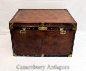 Vintage Leder Gepäckkoffer - Dampfer Kofferraum Couchtisch Box