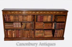 Walnut Open Bookcase - Regency Inlay Bücherregale Study Interiors