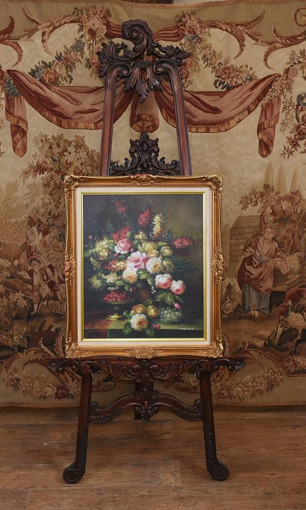Ölgemälde Klassische Blumen Stillleben Lebendige Blumenkunst Signiert
