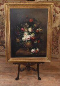 Blumenstillleben Ölgemälde viktorianische Kunst vergoldeter Rahmen