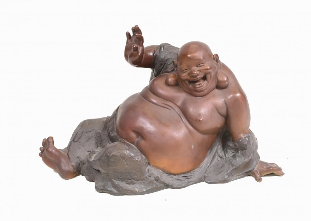 Bronze glückliche Buddha-Statue buddhistischer Kunstguss