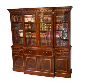 Mahagoni Breakfront Bücherregal Sekretär Regency Schreibtisch Re