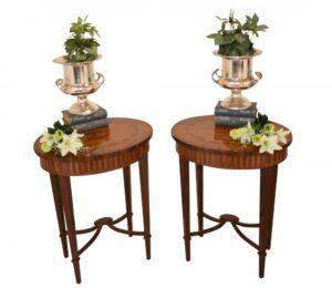 Paar Adams Beistelltische Ovaler Cocktailtisch Inlay