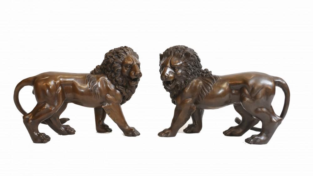 Paar Bronze Lions Medici Cat Casting Landseer