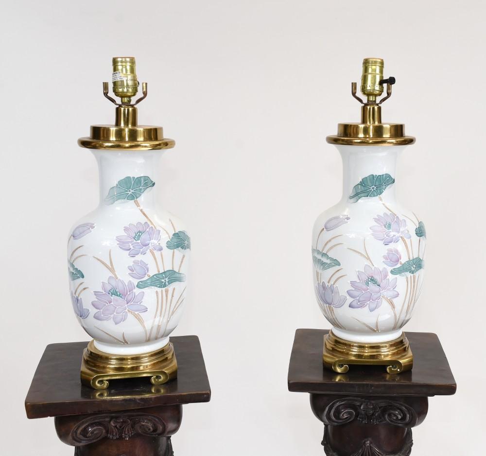 Paar Chinesische Tischlampen Porzellan Keramik Lichter