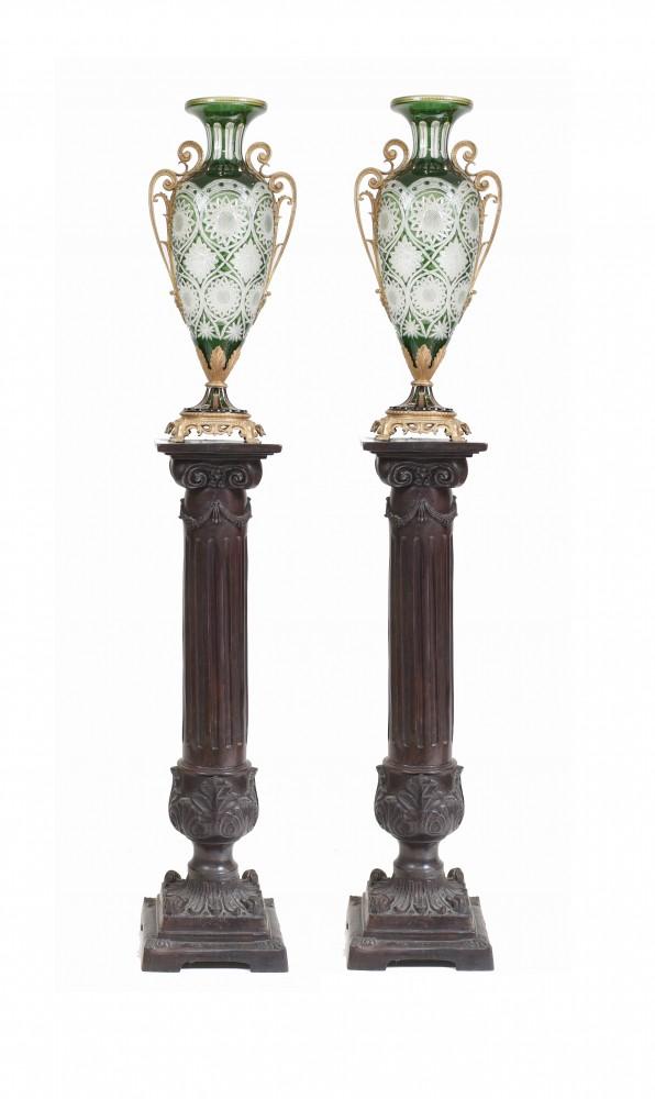 Paar Französische Vasen Empire Schliff Glas Amphoren Urnen