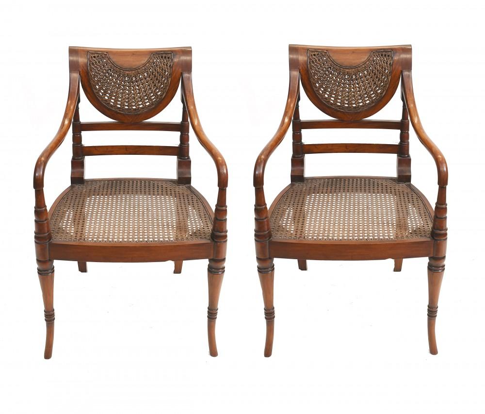 Paar Regency Sessel Whicker Seats
