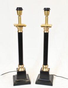 Regency Tischlampen Klassische dorische Säulenleuchten Paar