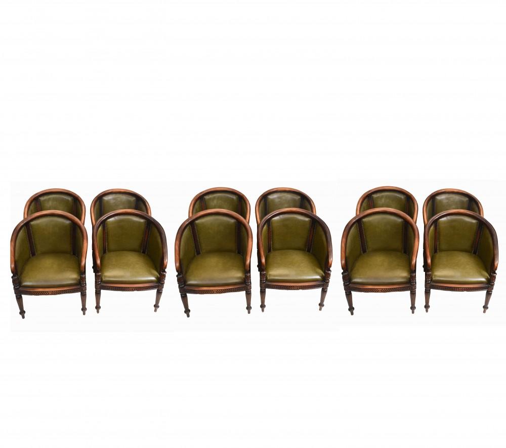 Set 12 Regency Esszimmerstühle Lederwanne Gentlemans Club