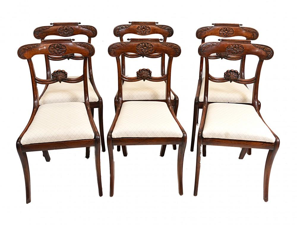 Set 6 Regency Esszimmerstühle Palisander 1810