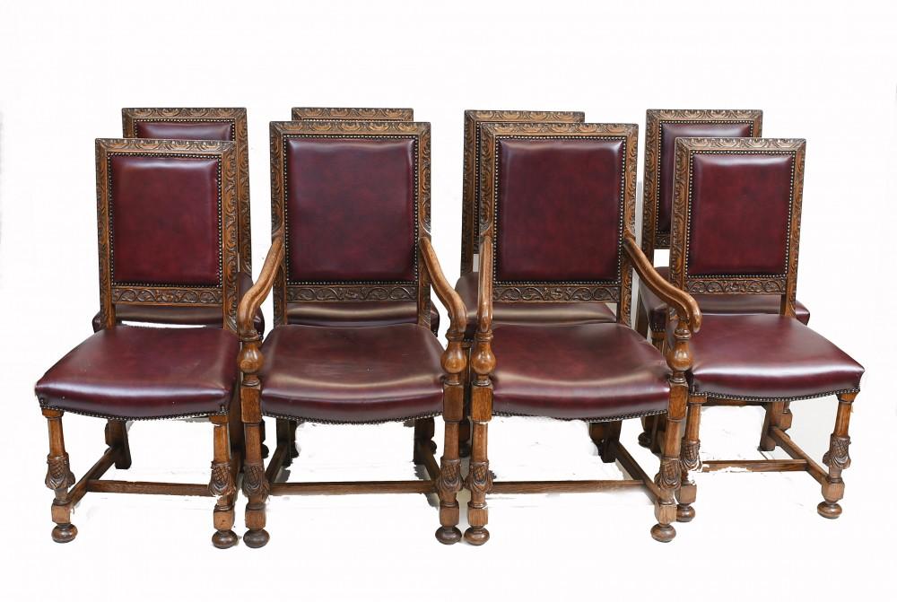 Set Esszimmerstühle aus Eiche Englische Antike Bauernmöbel