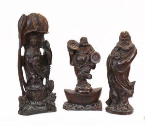 Set geschnitzte chinesische Buddha-Statuen antike Hartholzfigur 1930