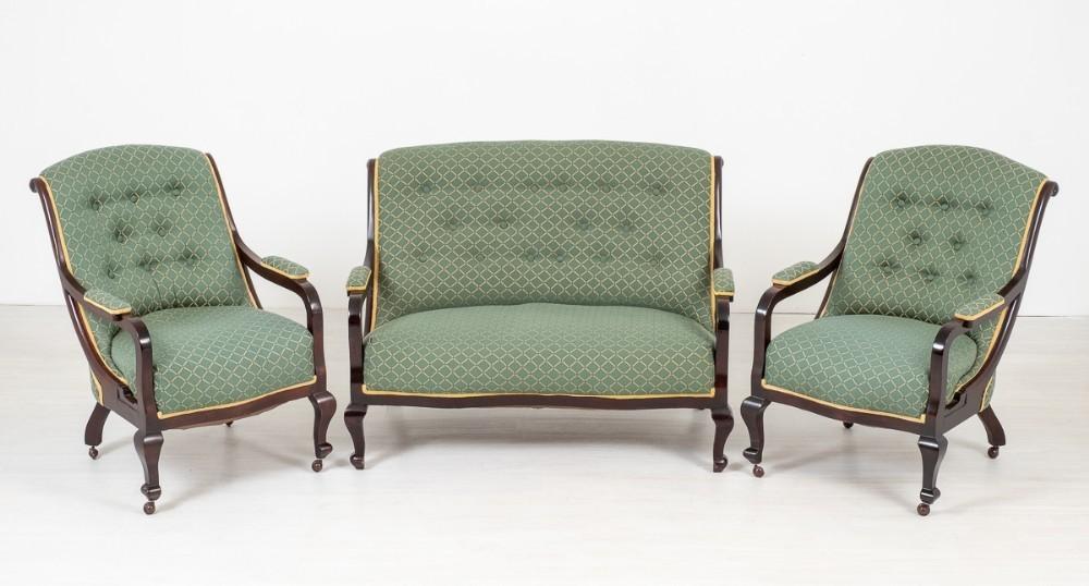 Viktorianische Parlour Suite Sofa Sessel Set Couch 1880