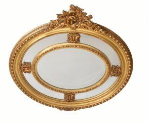 Viktorianischer Ovaler Spiegel Vergoldete Mantelspiegel Mirror