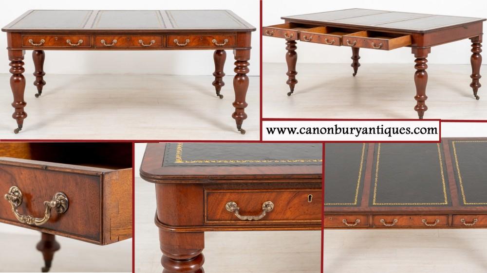 Viktorianischer Schreibtisch Mahagoni Schreibtisch 3 Schubladen