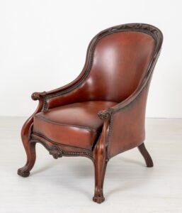 Viktorianischer Sessel Ledersitz Cabriole Bein 1860