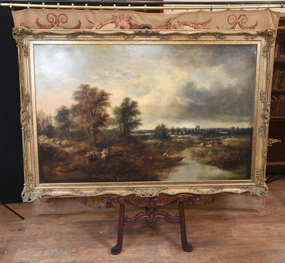 Viktorianisches Ölgemälde Englisch Norfolk Landschaft Rustikal Circa 1860 Arcadia