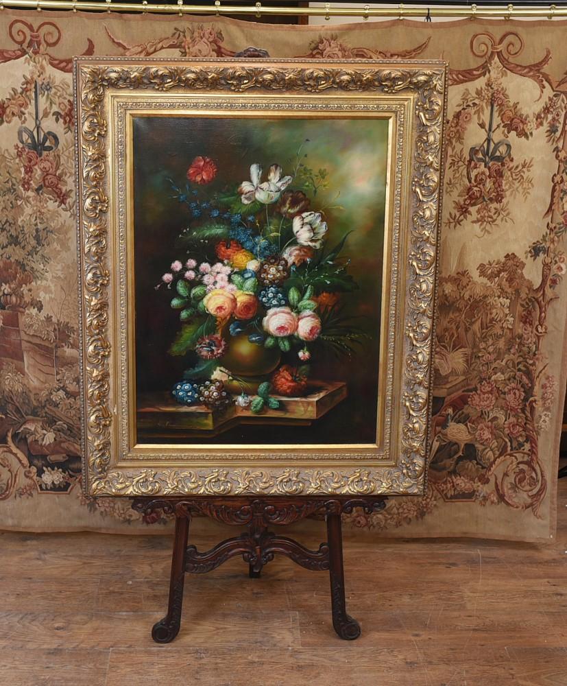 Viktorianisches Ölgemälde Stillleben Blumenkunst Vergoldeter Rahmen