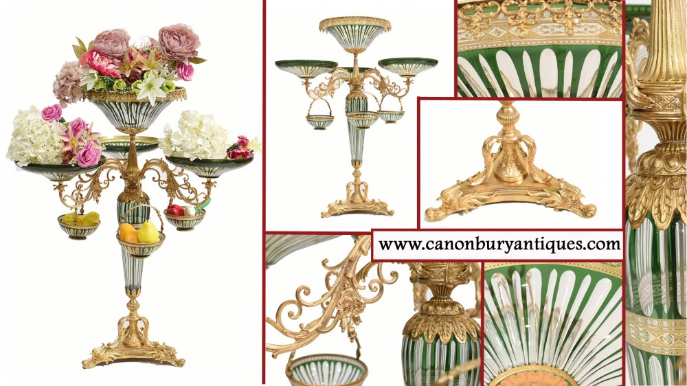 XL-Glas-Mittelstück Empire Epergne Tellerständer Vasen
